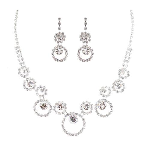 Bridal Wedding Jewelry Crystal Rhinestone Encircling Round Design Necklace SV