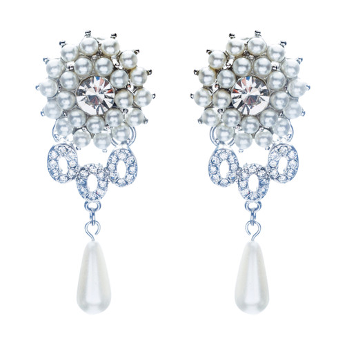 Bridal Wedding Jewelry Crystal Rhinestone Pearl Dangle Teardrop Earrings Silver