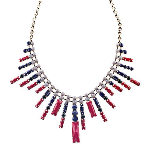 Modern Chic Trendy Dazzle Crystal Rhinestone Statement Jewelry Necklace Red