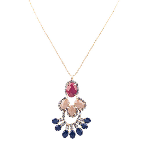 Beautiful Formica Crystal Pendant Statement Jewelry Fashion Necklace Gold Red
