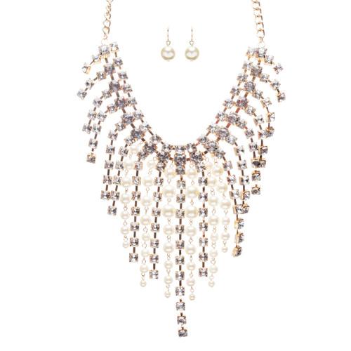Stunning Gorgeous Bridal Wedding Rhinestone Pearl Bib Statement Necklace Set
