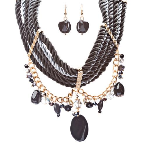 Statement Bohemian Bead Crystal Rhinestone Bold Dangle Necklace Set Gold Black