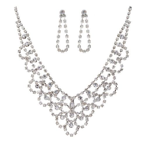 Bridal Wedding Jewelry Set Necklace Crystal Rhinestone V-Drape Silver