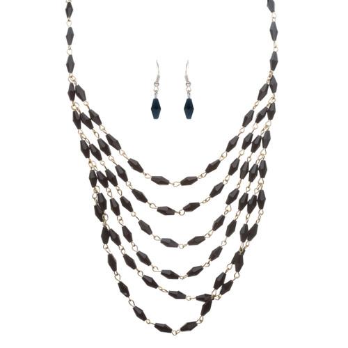 Beautiful Simple Multi Layered Bead Drape Design Statement Necklace Set Black