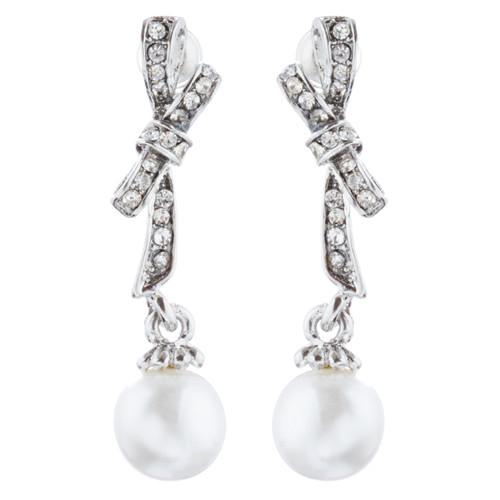 Bridal Wedding Jewelry Crystal Rhinestone Knot Pearl Dangle Earrings Silver
