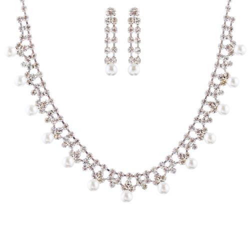 Bridal Wedding Jewelry Set Crystal Rhinestone Pearl Simply Classic Silver White