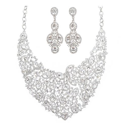 Bridal Wedding Jewelry Crystal Rhinestone Alluring Bib Posture Necklace J499 SLV