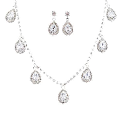 Bridal Wedding Jewelry Set Crystal Rhinestone Lovely Teardrop Silver