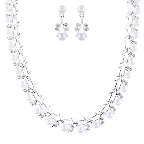 Bridal Wedding Jewelry Set Crystal Rhinestone Pearl Sophisticated Silver White