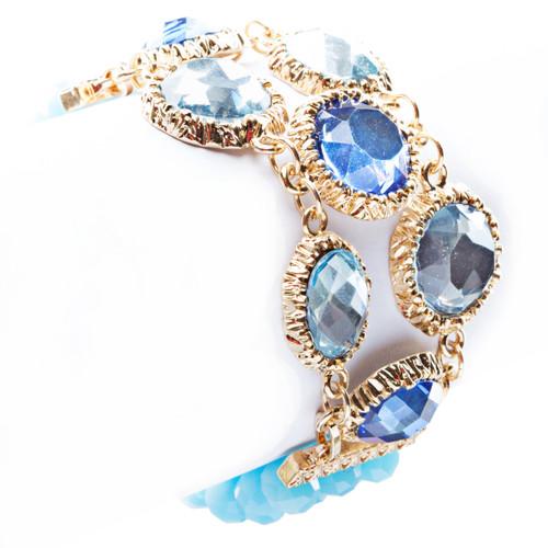 Modern Fashion Captivating Bright Color Design Statement Bracelet B485 Blue
