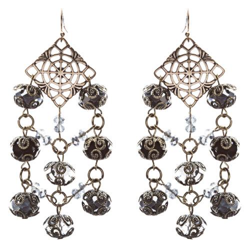 Bold Fashion Extraordinary Beaded Charms Design Dangle Earrings E853 Black