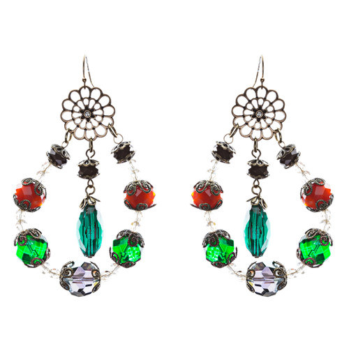 Bold Fashion Unique Beaded Charms In Tear Drop Statement Earrings E854 Multi