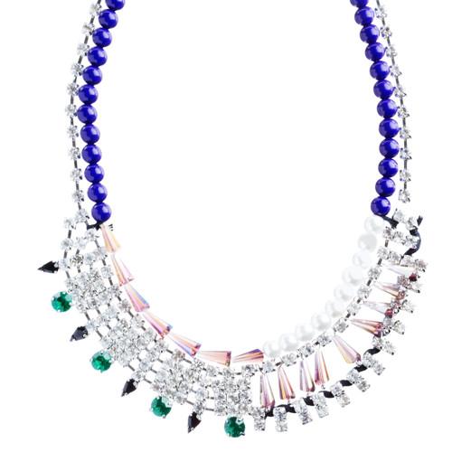 Contrasting Arrangement Crystal Rhinestone Statement Bib Necklace N79 Purple