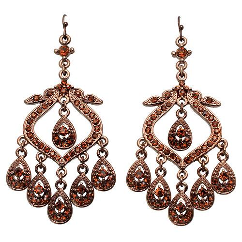 Crystal Pave Vintage Chandelier Luxury Earring Brown