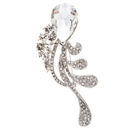 Bridal Wedding Jewelry Crystal Rhinestone Chic Tear Drop Brooch Pin BH75 Silver