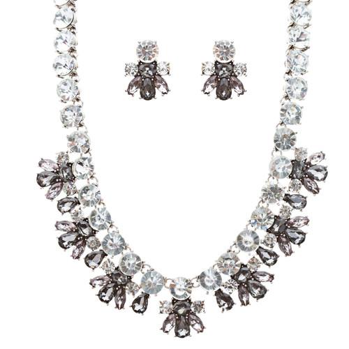 Stunning Sparkle Crystal Bold Design Fashion Statement Necklace Set JN181Gray
