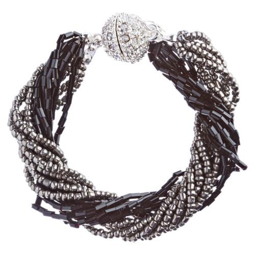 Fashion Statement Crystal Rhinestone Unique Link Stretch Bracelet B474 Black