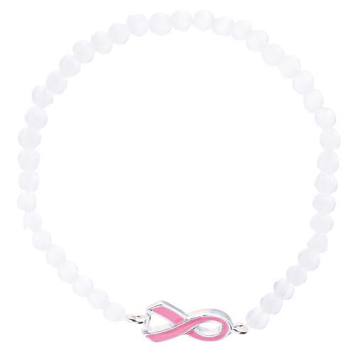 Pink Ribbon Jewelry Crystal Rhinestone Pretty Charm Link Bracelet B477 Pink