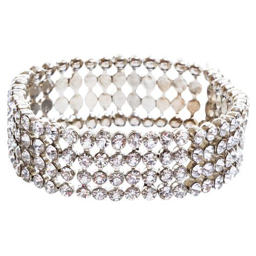Bridal Wedding Jewelry Crystal Rhinestone Beautiful Wrap Around Bracelet B263 SV