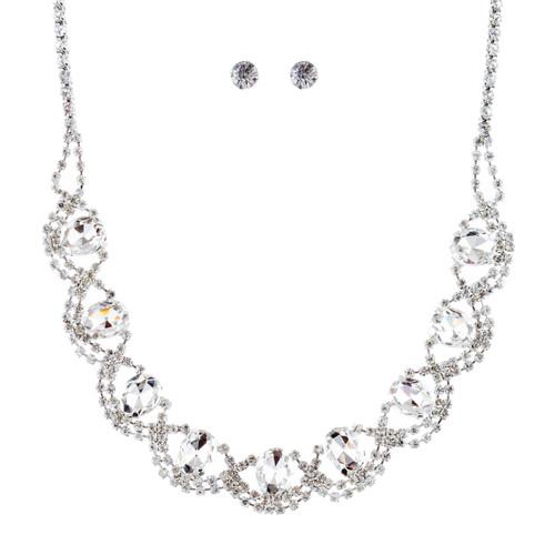 Bridal Wedding Jewelry Crystal Rhinestone Beautiful Design Necklace Set J686 SV