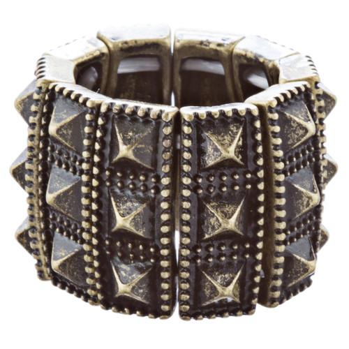 Stylish Chic 3 Rows Spike Design Stretch Fashion Ring R221 Antique Gold