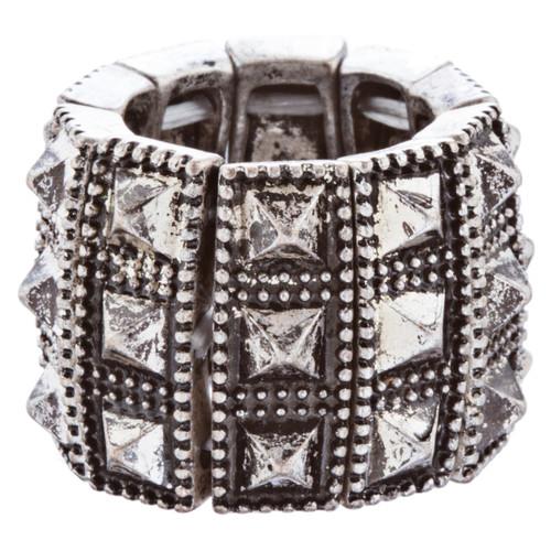Stylish Chic 3 Rows Spike Design Stretch Fashion Ring R221 Antique Silver