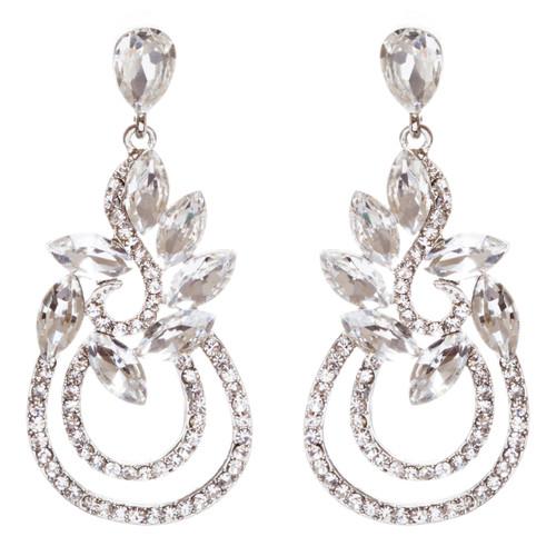 Bridal Wedding Jewelry Crystal Rhinestone Elegant Dangle Earrings E951 Silver