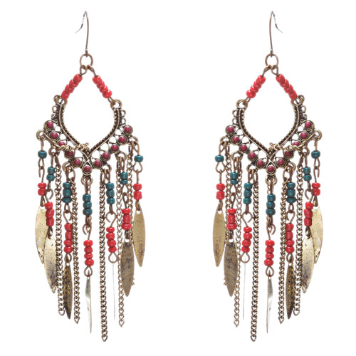 Chic Trendy Statement Fashion Dangling Chains Bead Earrings E953 Multi