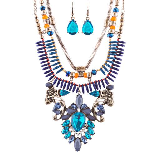 Stunning Magnificent Bead Crystal Rhinestone Statement Necklace Set JN269 GD BL