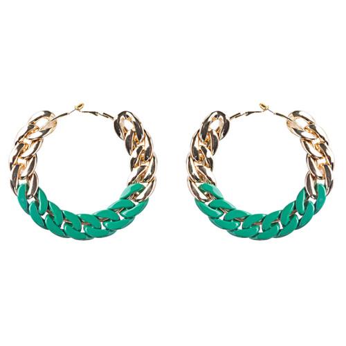 Modern Fashion Lovely Two Tone Intertwined Chain Links Hoop Earrings E779 Green