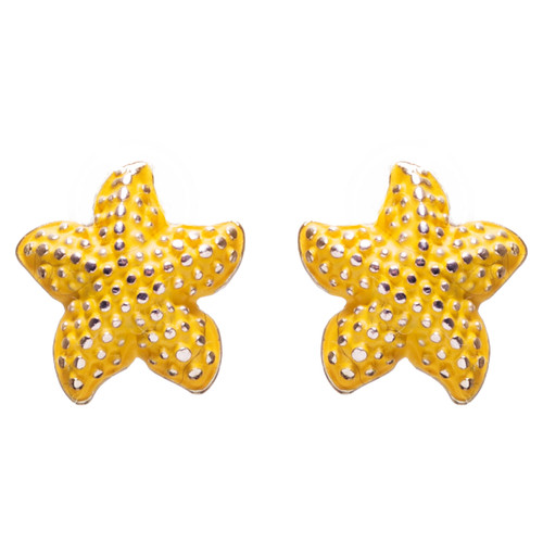 Nautical Jewelry Adorably Cute & Tiny Starfish Stud Earrings E932 Yellow
