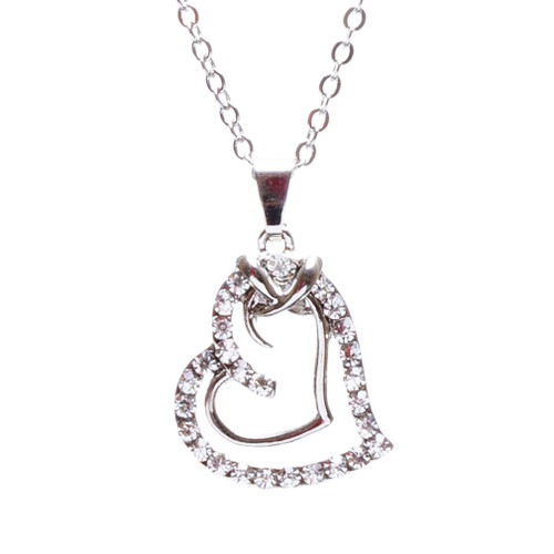 Valentines Jewelry Crystal Rhinestone Sparkling Hearts Necklace N92 Silver