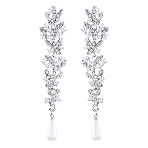 Bridal Wedding Jewelry Crystal Rhinestone Pearl Liner Drop Earrings E1019 Silver