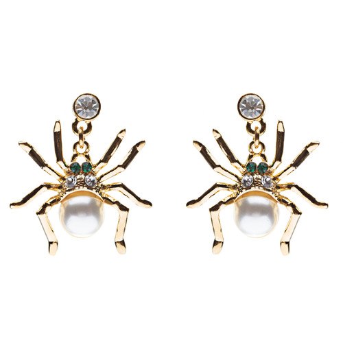 Halloween Costume Jewelry Spider Crystal Pearl Dangle Charm Earring Gold White