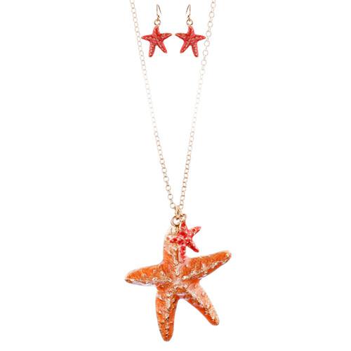 Fun Ocean Inspired Sea Star Pendant Necklace Earrings Set JN282 Gold Orange