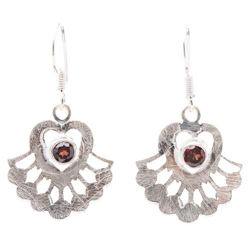 925 Sterling Silver Natural Gemstones Garnet Dangle Earrings FJSVE2169