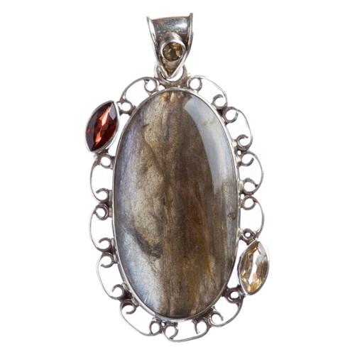 925 Sterling Silver Natural Gemstones Labradorite Pendant FJSVP2048