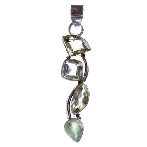 925 Sterling Silver Natural Gemstones Citrine Pendant FJSVP2055