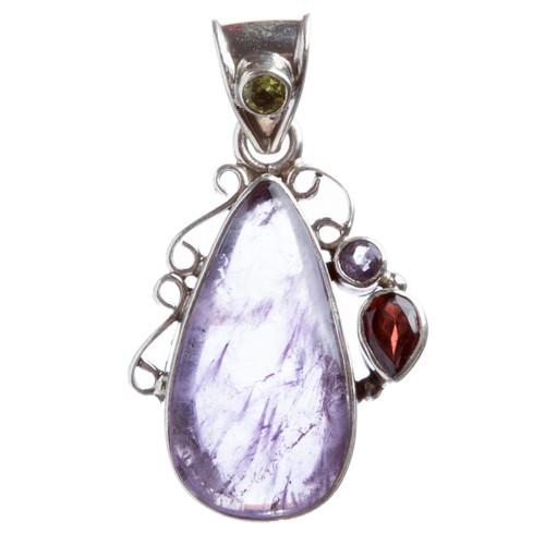 925 Sterling Silver Natural Gemstones Amethyst Pendant FJSVP2061