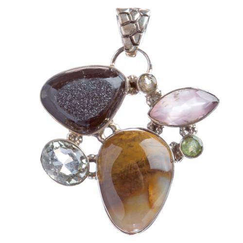 925 Sterling Silver Natural Gemstones Druzy Agate Amethyst Pendant FJSVP2091
