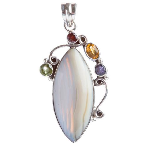 925 Sterling Silver Natural Gemstones Agate Multigems Pendant FJSVP2103