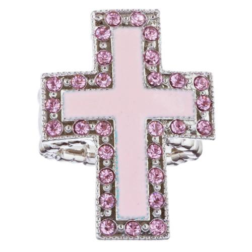 Cross Jewelry Sparkle Crystal Rhinestone Enamel Stretch Fashion Ring R229 Pink