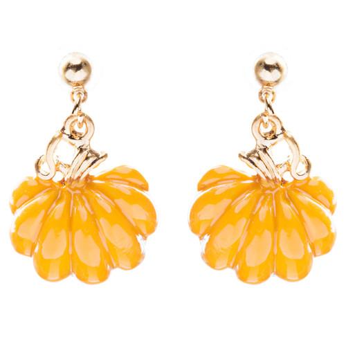 Halloween Costume Jewelry Enamel Pumpkin Charm Dangle Earrings E761 Orange
