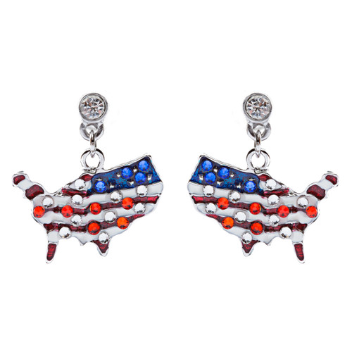 Patriotic Jewelry Crystal Rhinestone American Flag Dangle Earrings E762 Silver