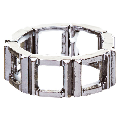 Fashion Statement Square Shaped Hollow Design Stretch Fashion Ring R214 Black