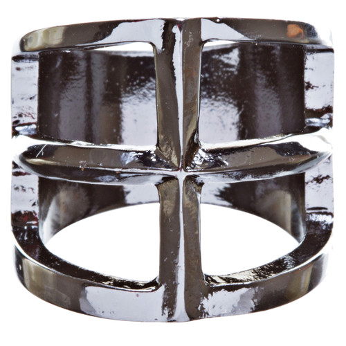 Trendy Square Shaped Hollow Design Statement Fashion Stretch Ring R215 Black