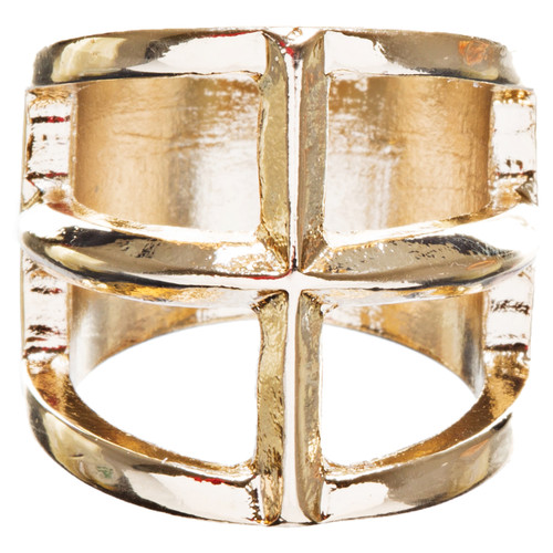 Trendy Square Shaped Hollow Design Statement Fashion Stretch Ring R215 Gold