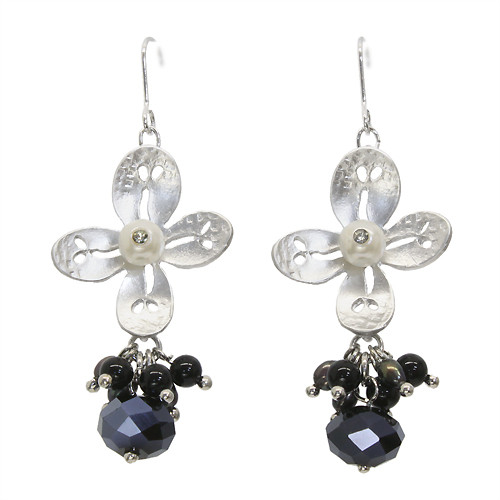Semiprecious Crystal Cluster Drop Flower Earrings Black