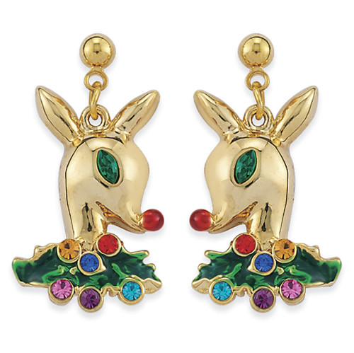 Christmas Jewelry Crystal Holiday Reindeer Dangle Earrings E1181 Gold Multi