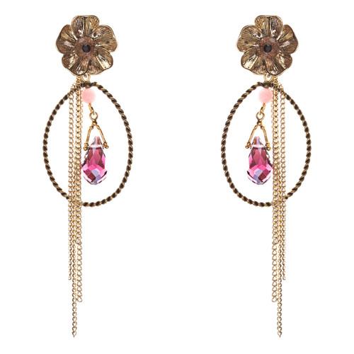 Semiprecious Flower & Chain Tear Drop Earrings Gold